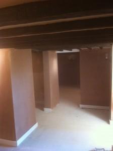 Hall: plastering & skirting around doorways & ceiling beams